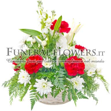 Ciotola di fiori funebri bianchi e rossi