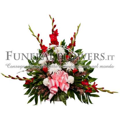 Ciotola funebre di fiori rossi e bianchi