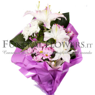 Bouquet floreale funebre bianco e viola