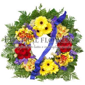 Corona funebre per cimitero gialla e rossa