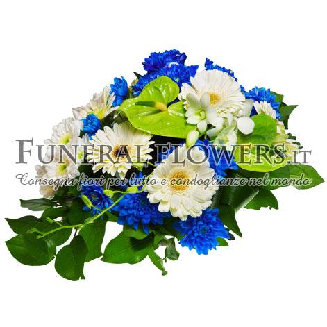 Composizione floreale funebre con anthurium
