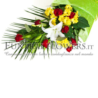 Mazzo funebre di rose rosse, gigli bianchi e garofani