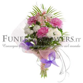 Bouquet di fiori funebri bianchi e rosa