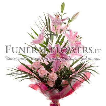 Mazzo funebre di gigli rosa