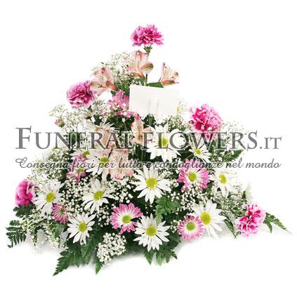 Ciotola funebre di fiori misti bianchi e rosa