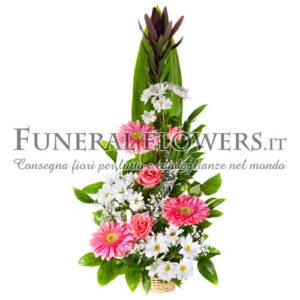 Ciotola funebre di fiori rosa e bianchi