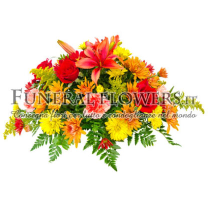 Cuscino funebre di fiori giallo e arancio