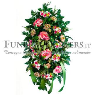 Corona funebre di fiori misti bianchi e rosa