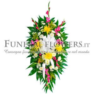 Corona funebre sui toni del bianco e giallo