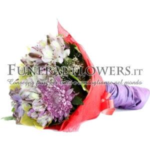 Bouquet funebre di alstromerie e crisantemi