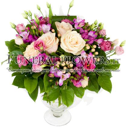 Bouquet funebre di rose bianche e lisianthus rosa