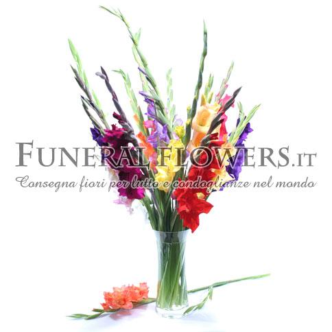 Mazzo funebre di gladioli colorati
