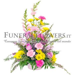 Omaggio floreale funebre rosa e giallo