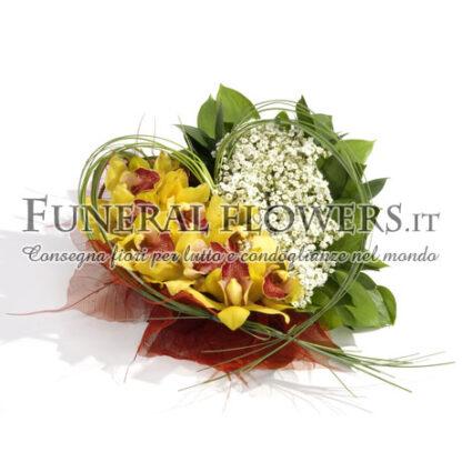 Cuore funebre con orchidee
