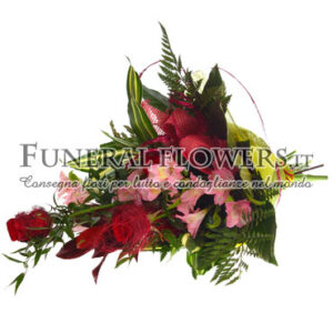 Mazzo funebre con rose rosse