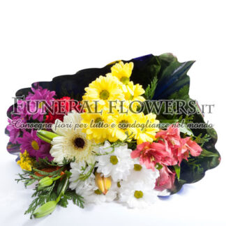 Bouquet funebre di fiori di campo per porgere condoglianze