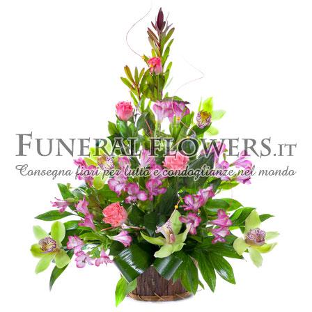 Mazzo Di Fiori Per Funerale.Composizione Floreale Per Funerale Con Tonalita Di Fiori Rosa