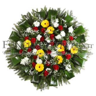 Ghirlanda funebre di fiori rossi e gialli