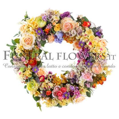 Ghirlanda funebre di fiori misti