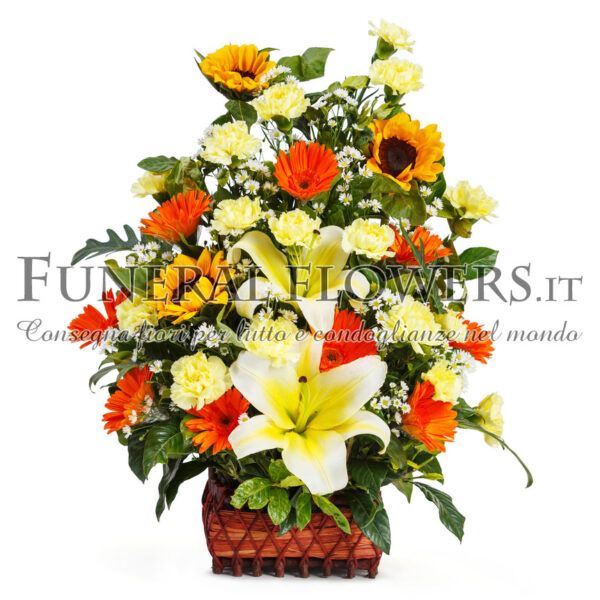Ciotola funebre di fiori gialli e arancio