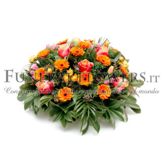 Cuscino funebre di fiori arancio