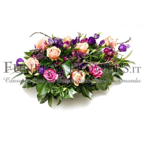 Cuscino funebre di fiori rosa e viola
