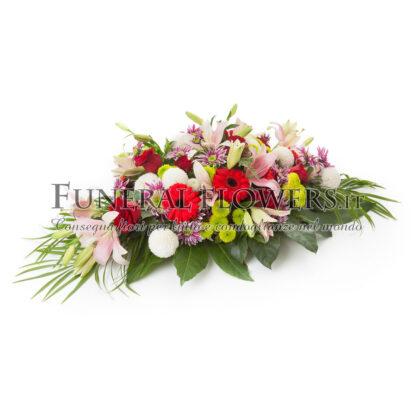 Cuscino funebre di fiori misti colorati