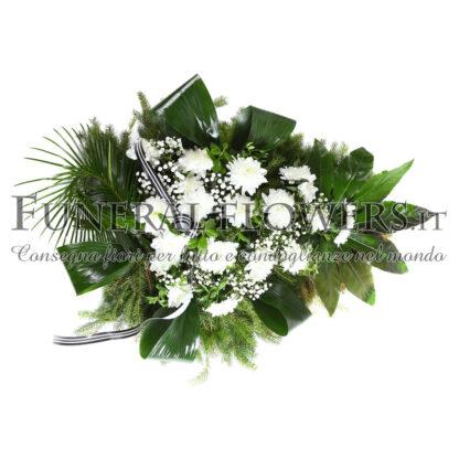 Cuscino funebre di fiori bianchi