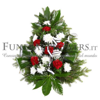 Ciotola funebre di garofani bianchi e rossi