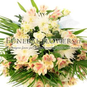 Mazzo funebre di fiori gialli