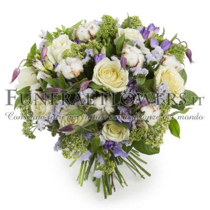 Bouquet floreale funebre di rose bianche e fiori viola